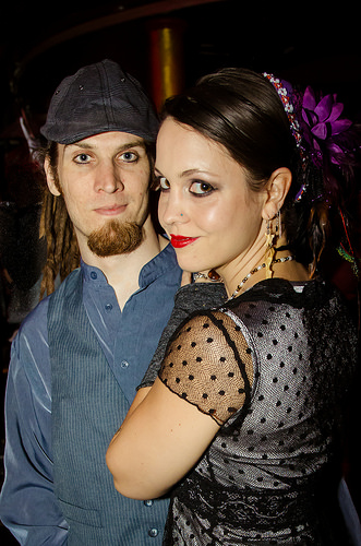 Me and my life partner dressed up at a concert.